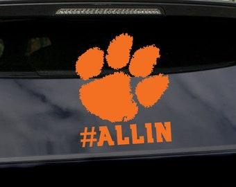 5493eda8ccfa Clemson Tigers Paw ALLIN Logo Vinyl Decal Sticker For Car Window, Yeti RTIC  Tumbler Rambler Water Bottle, Laptop MacBook iPad Tablet Phone