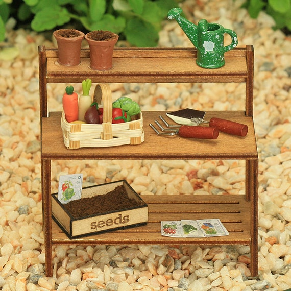 Excellent Garden Potting Bench With Tiny Accessories Seed Tray Vegetable Basket Watering Can Pots Tiny Seed Packets Fairy Garden Accessory Ncnpc Chair Design For Home Ncnpcorg