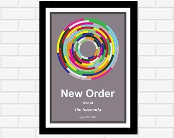 New Order Concert Poster - Music Poster - Concert Poster - Band Poster - Music Gift - Album Art - Music Print - Home Decor - Wall Art
