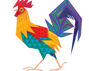 Rooster-  Bird Illustration A3  giclee Art Print- *LIMITED*