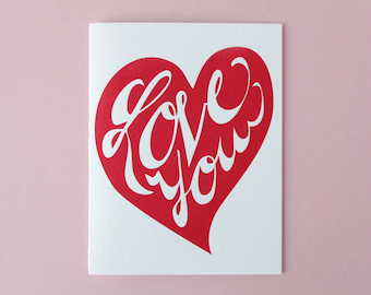 Love You Heart Letterpress Greeting Card
