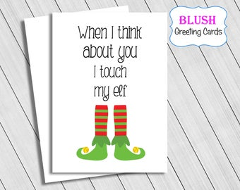Rude Christmas Card, Adult Cards, Funny Christmas Cards, Naughty Christmas Cards, Touch My Elf