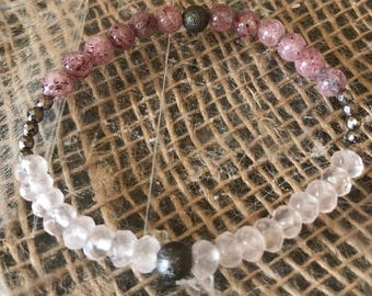 Strawberry and Rose Quartz Bracelet with Hematite