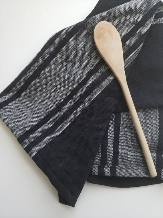Modern Kitchen Towel, Black Hand Towel, Black Tea Towel, Striped Towel,  Kitchen Towel, Black Grain Sack Towel, Modern Farmhouse Towel