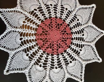 dusty rose and white 12 point pineapple doily