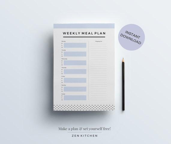 Essen Planung Kit: Wöchentliche Planer Ernährungstagebuch