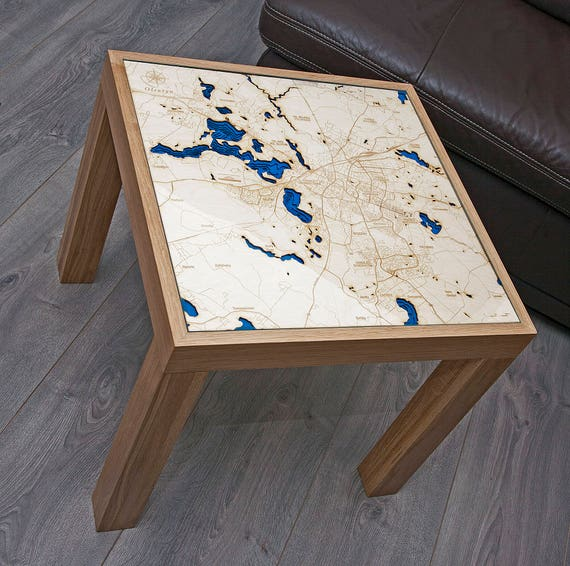 Table With Your Own Map X D Etsy - Topographic coffee table