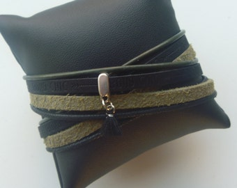 Turtlegreen/black wrap bracelet