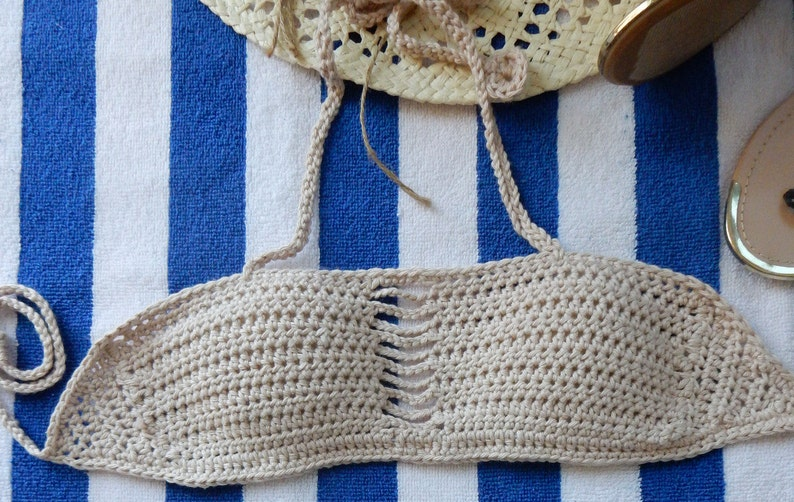 4986aababc64 Bikini natural color cotton swimsuit bandeau bikinis brasileiros crochet  swimsuit sexy