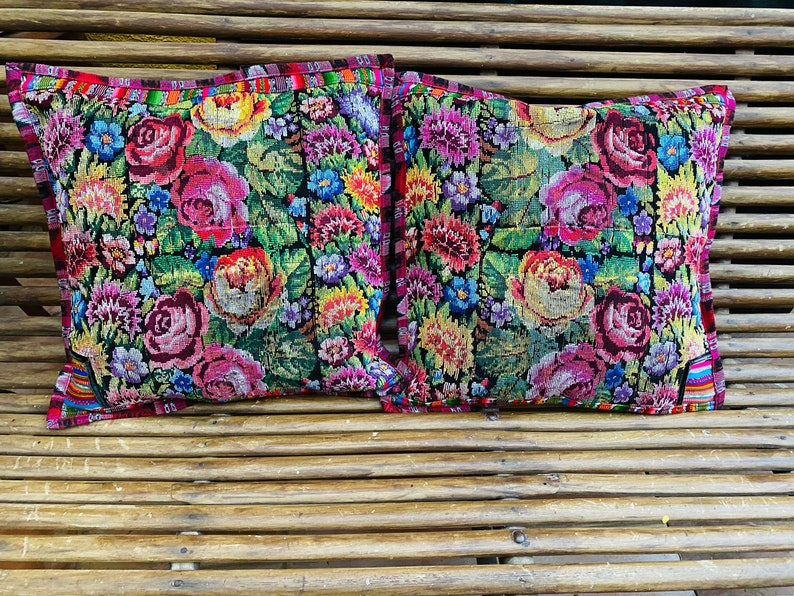 Flowers in bloom Set of two Cushion covers huipil  from chichi     hand weaved on a back strap loom