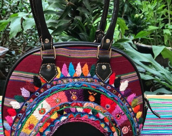 Sale 20 0ff! Ethnic Handbag with Unique huipil from Patzun in reds and black leather