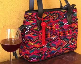 Sake! Save 25 dollars !Silk thread Huipil  in geometric dedign from Sacatepequez  and leather