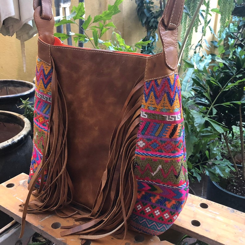 save price 20 dollars less now !fringe  handbag in natural leather and huipil from San Mart\u00edn Jilotepeque Sale