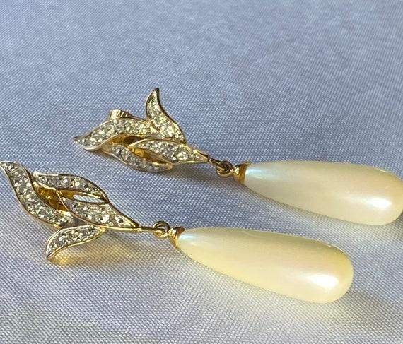 Richelieu vintage faux pearl dangle clip on earri… - image 5
