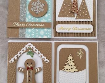 Set of four luxury handmade Christmas cards.