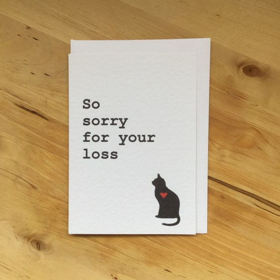 cat sympathy card cat loss card pet loss card cat death etsy