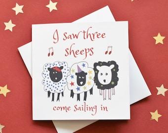 I saw three ships card, I saw three sheeps card, Christmas carol card, Christmas sheep card, Christmas song card, Xmas sheep card