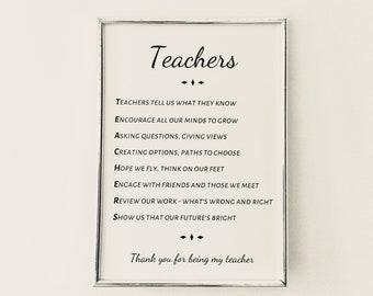 Teacher gift, A little poem about teachers, teacher gift, acrostic poem for teacher,  teacher poem, gift for teacher, teacher print