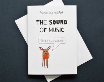 The Sound of Music card, funny The Sound of Music film card, The Sound of Music movie card, Doe a deer card