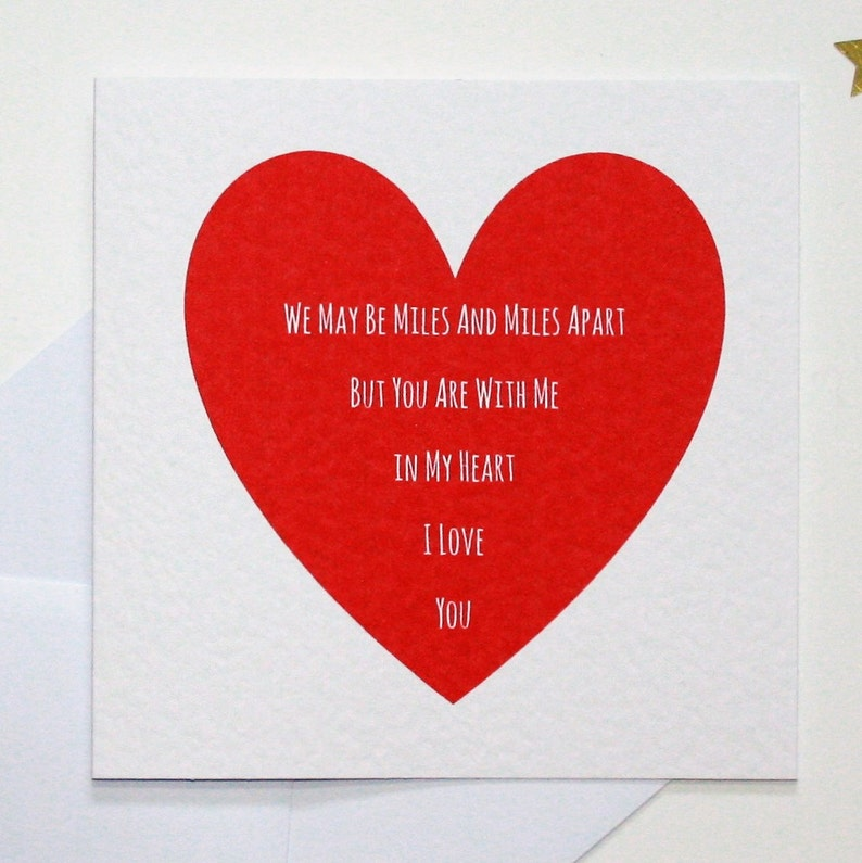Long distance card, I love you card, long distance valentine's card, within  my heart card, you are close card, you are near card,