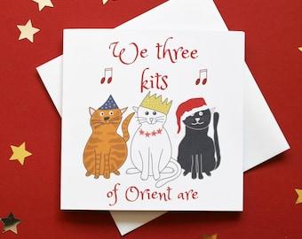 We three kings card, we three kits card, Christmas carol card, cats Christmas card, kitty Christmas card, cats Xmas card, Xmas song card