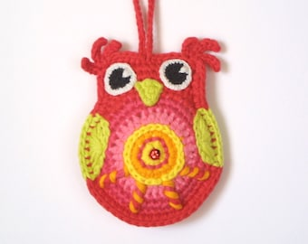 Crochet Owl Pattern, Instant Download, Colorful Owl, Ornament, Happy Owl, PDF pattern