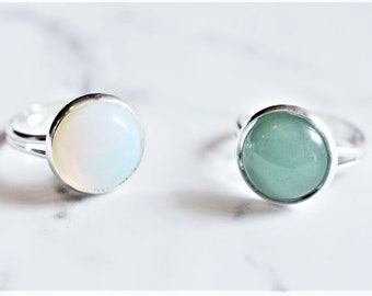 Opal/Green Aventurine Adjustable Crystal Ring Jewellery Crystal Silver Gift For Her Free UK Shipping Unique White Green Gemstone Valentines