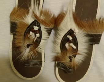 Leather and fur sandals