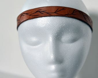 Leather Headband with burned in natural design