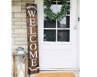 WELCOME SIGN, wreath sign, welcome sign for front door, rustic welcome sign, outdoor welcome sign, vertical welcome sign, wood welcome sign
