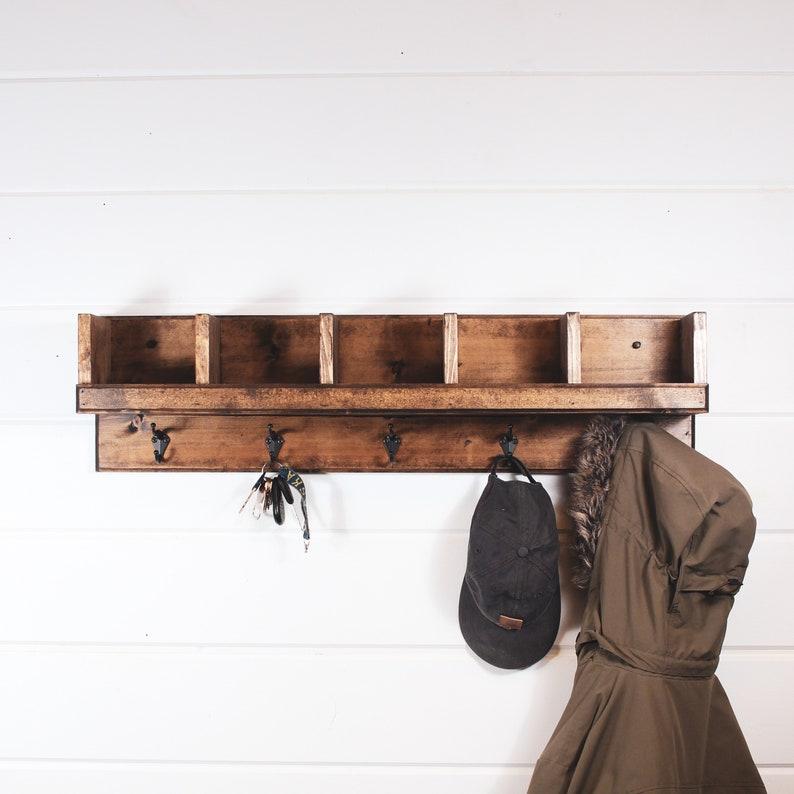 Coat Rack with storage cubby shelf entryway coat rack with image 0