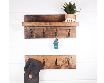 Key and Coat Rack with Shelf, floating shelf, Shelf, organizer, Entryway Organizer, mud room, Wall Mounted Coat Rack, Leash Holder,