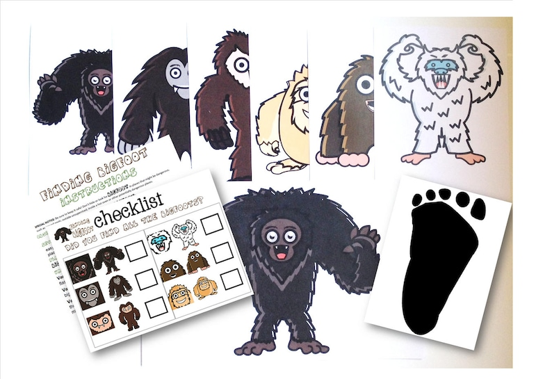 Finding Bigfoot Game, BIGFOOT, Sasquatch, Kids game, party game, birthday  party game, kids birthday party, bigfoot game, bigfoot download