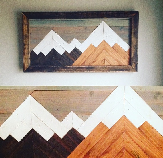 Mountain Wood Art Wall Decor Mountain Art Geometric Art Etsy
