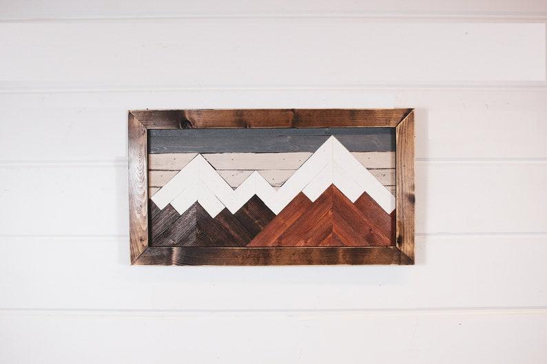 Mountain wood art wall decor mountain art geometric art image 0