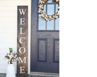 WELCOME SIGN, welcome sign for front door, rustic welcome sign, outdoor welcome sign, vertical welcome sign, wood welcome sign