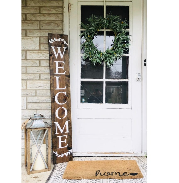 Welcome Sign Wreath Sign Welcome Sign For Front Door Rustic Etsy
