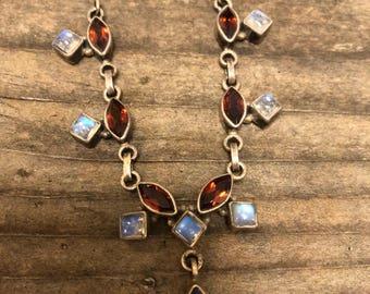 Necklace garnet moonstone sterling