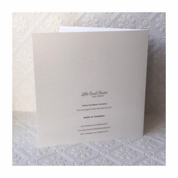 Tasmanian Yellow-Tailed Black Cockatoo Blank Greeting Card Featuring an Original Hand-Coloured Lino Print
