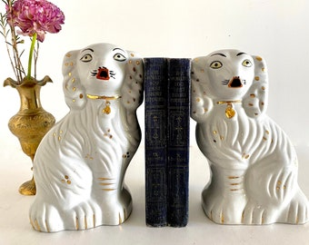 Pair of Vintage Staffordshire Spaniels - White and Gold - Home Decor - Mantle Decor - Bookends
