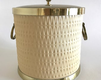 Vintage Kraftware Ice Bucket- Brass with Quilted Weave