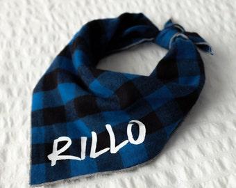 Personalized Plaid Dog Bandana - Russell // Dog bandana // Personalized Bandana // Pet Bandana // Flannel Dog Bandana // Winter Dog Bandana