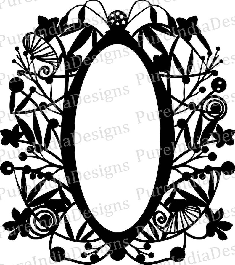 7c4c50ad24c9 Abstract Frame Oval Flower Laser Cut Vector artSilhouette