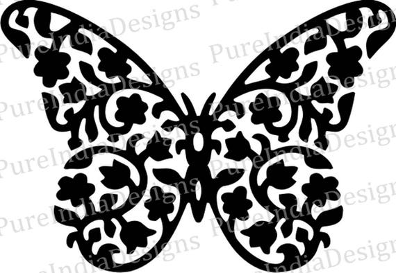 Butterfly SVG EPS DXF Stencil Stamp