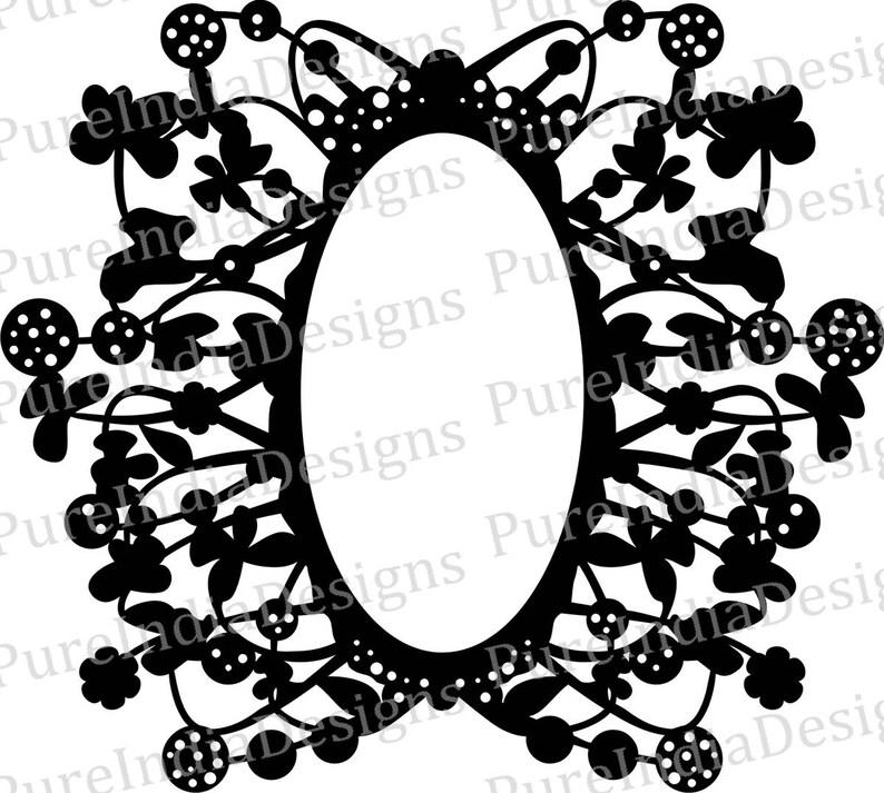 0f900a4ebde5 Abstract Floral Frame Mirror frame Laser Cut Vector