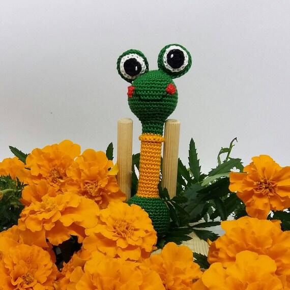 Rassel Frosch Frosch Totem Rassel Häkeln Spielzeug Rassel Etsy