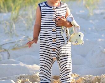 Organic Terry Girls Boys Harem Romper Navy & White Stripes | Organic Kids Harem Romper | Kids Overall Playsuit | Organic baby kids clothes