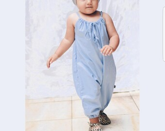 41009d3856a Organic Chambray Bubble Romper with Ruffles in Grenadine