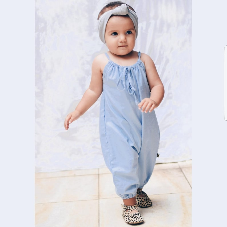 a80bfafd39ec Organic Chambray Girls Summer Playsuit with thin straps Baby