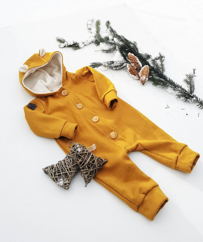 6c7ebc986 Bear Hoodie Overall with wooden buttons 5 colours Baby Girl